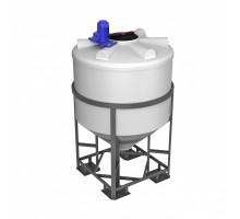Емкость ФМ 1000 белая в обрешетке с турбинной мешалкой