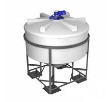 Емкость ФМ 3000 белая в обрешетке с турбинной мешалкой